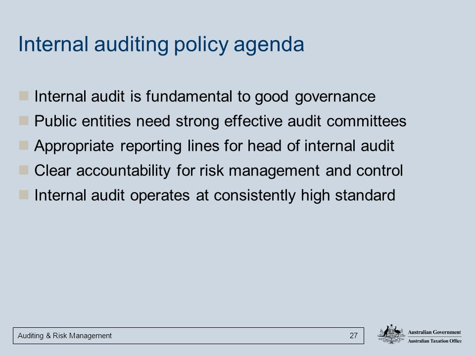 Auditing & Risk Management 27 Internal auditing policy agenda Internal audit is fundamental to good governance Public entities need strong effective a