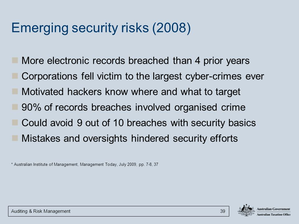 Auditing & Risk Management 39 Emerging security risks (2008) More electronic records breached than 4 prior years Corporations fell victim to the large