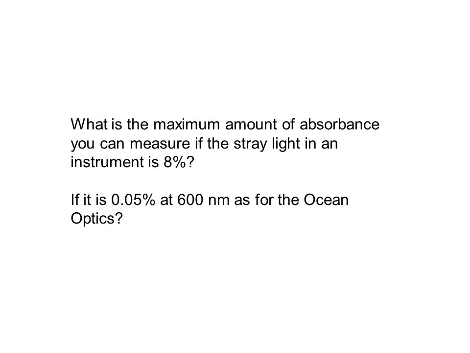 What is the maximum amount of absorbance you can measure if the stray light in an instrument is 8%.