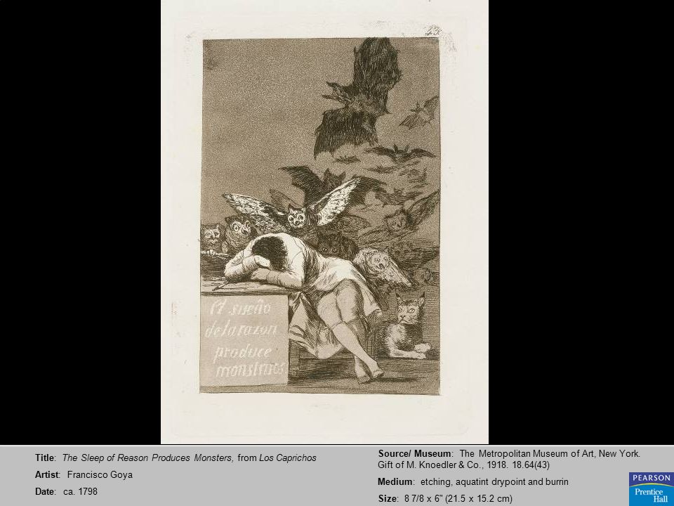 Title: The Sleep of Reason Produces Monsters, from Los Caprichos Artist: Francisco Goya Date: ca.