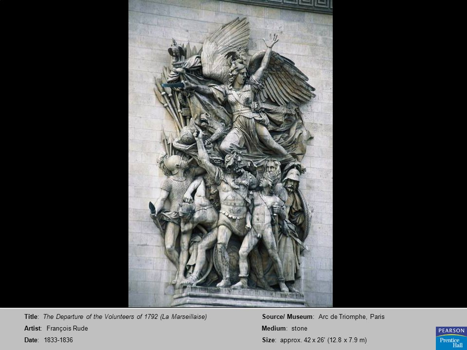 Title: The Departure of the Volunteers of 1792 (La Marseillaise) Artist: François Rude Date: 1833-1836 Source/ Museum: Arc de Triomphe, Paris Medium: stone Size: approx.