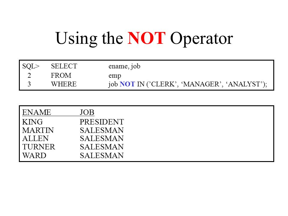 Using the NOT Operator SQL>SELECTename, job 2FROMemp 3WHEREjob NOT IN ('CLERK', 'MANAGER', 'ANALYST'); ENAMEJOB KINGPRESIDENT MARTINSALESMAN ALLENSALESMAN TURNERSALESMAN WARDSALESMAN