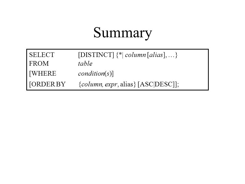 Summary SELECT[DISTINCT] {*| column [alias], …} FROMtable [WHEREcondition(s)] [ORDER BY{column, expr, alias} [ASC|DESC]];