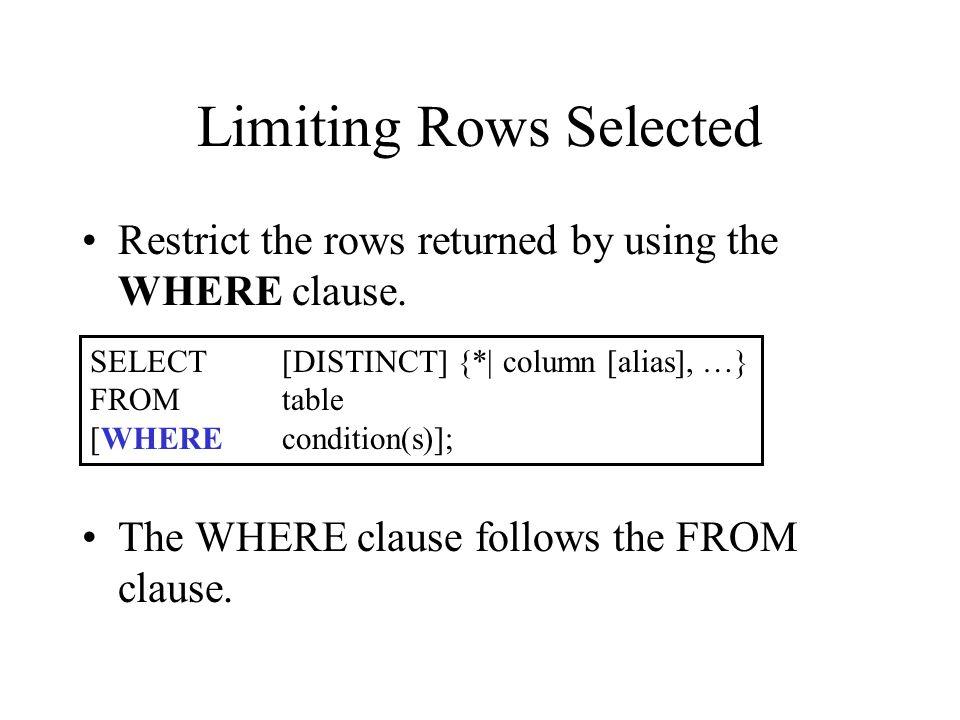 Using the WHERE clause SQL>SELECTename, job, deptno 2FROMemp 3WHEREjob ='CLERK'; ENAMEJOBDEPTNO JAMESCLERK30 SMITHCLERK20 ADAMSCLERK20 MILLERCLERK10