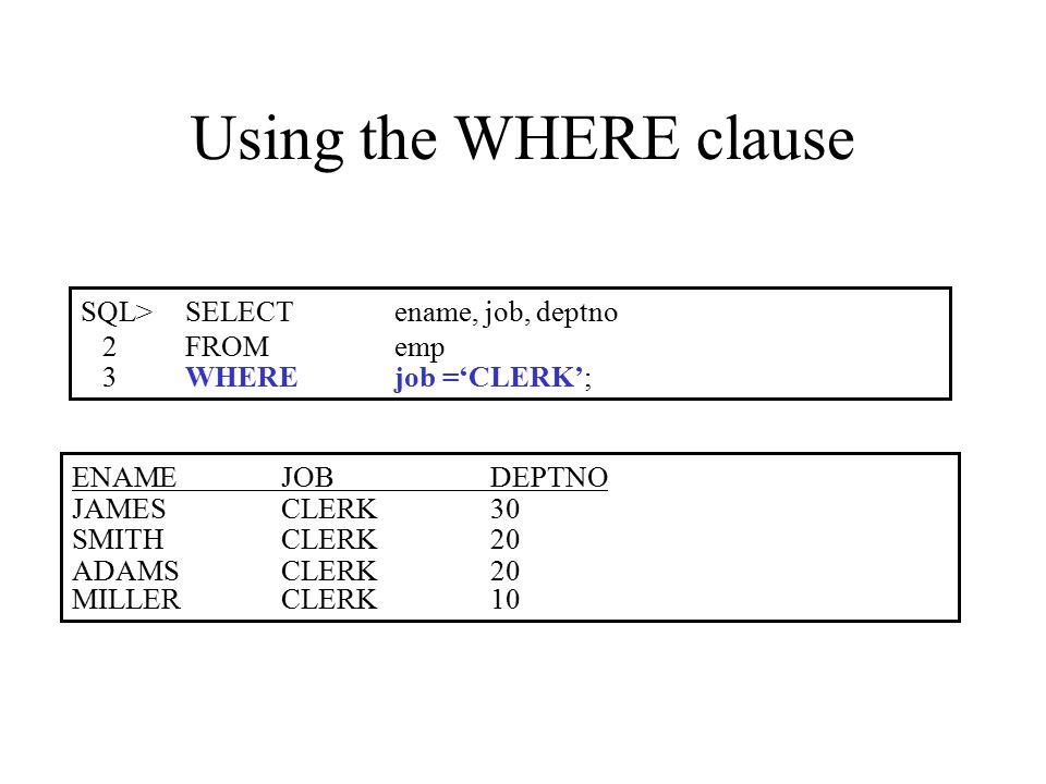 Summary SELECT[DISTINCT] {*| column [alias], …} FROMtable [WHEREcondition(s)] [ORDER BY{column, expr, alias} [ASC|DESC]];