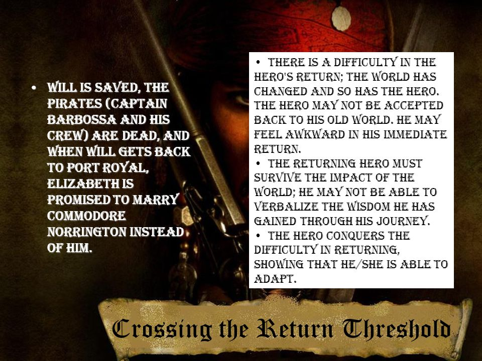 Crossing the Return Threshold Will is saved, the pirates (Captain Barbossa and his crew) are dead, and when Will gets back to Port Royal, Elizabeth is