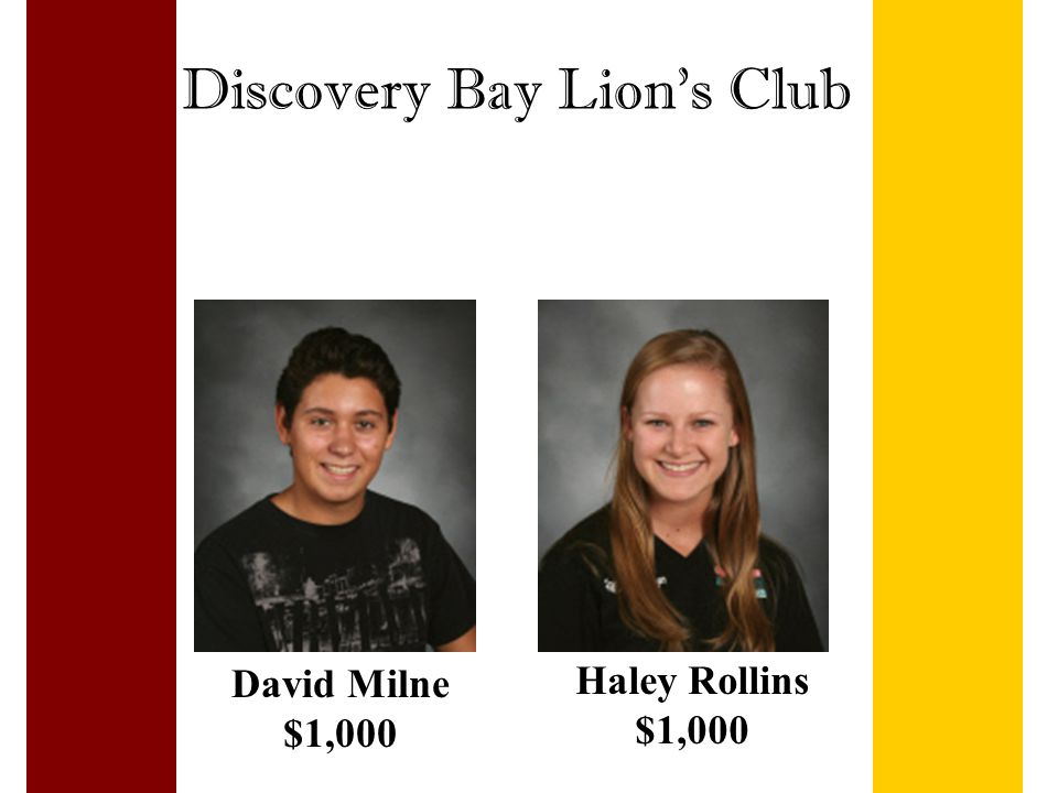 Discovery Bay Lion's Club David Milne $1,000 Haley Rollins $1,000