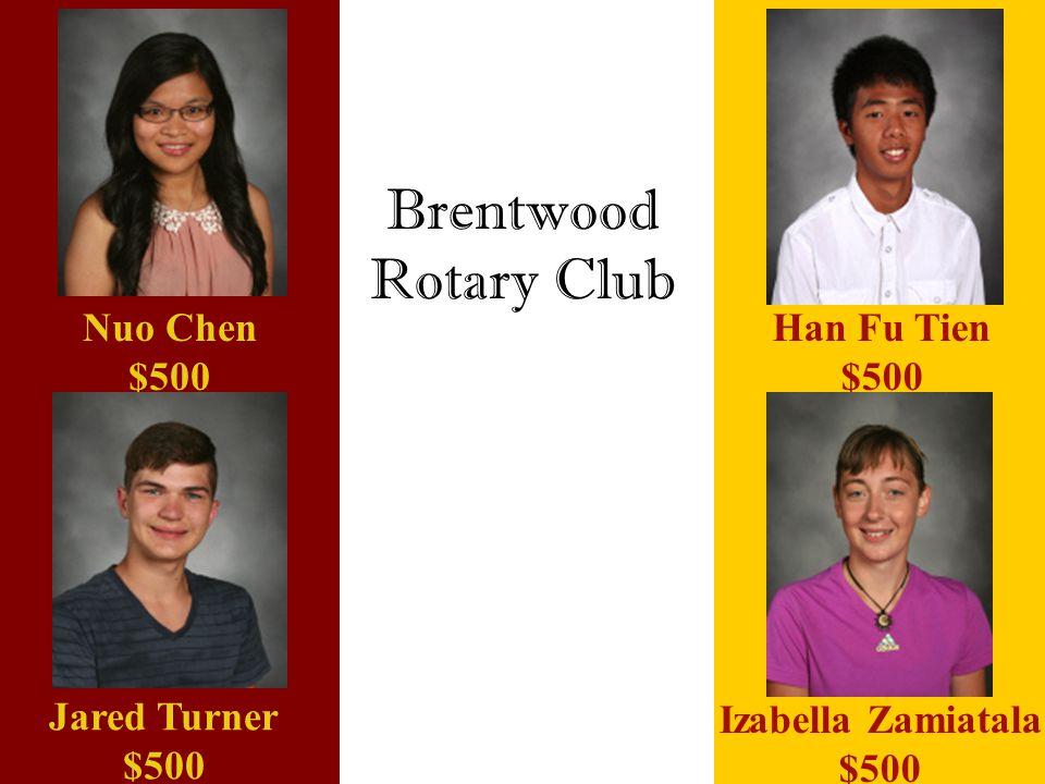 Brentwood Rotary Club Nuo Chen $500 Han Fu Tien $500 Jared Turner $500 Izabella Zamiatala $500