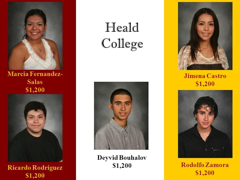 Heald College Deyvid Bouhalov $1,200 Ricardo Rodriguez $1,200 Marcia Fernandez- Salas $1,200 Rodolfo Zamora $1,200 Jimena Castro $1,200