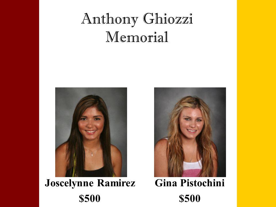 Anthony Ghiozzi Memorial Joscelynne Ramirez $500 Gina Pistochini $500