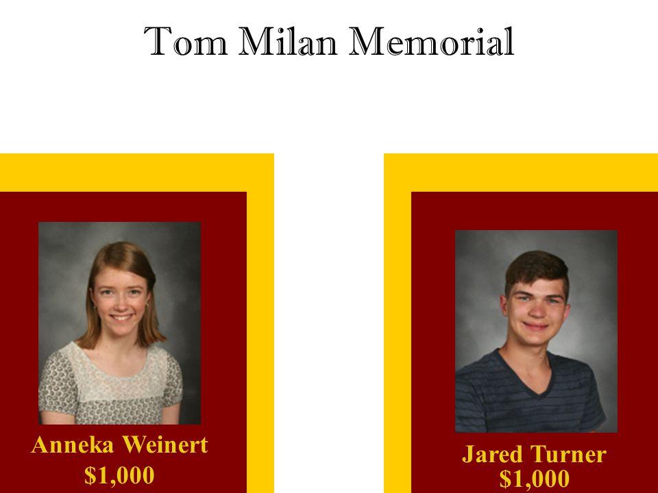 Tom Milan Memorial Jared Turner $1,000 Anneka Weinert $1,000