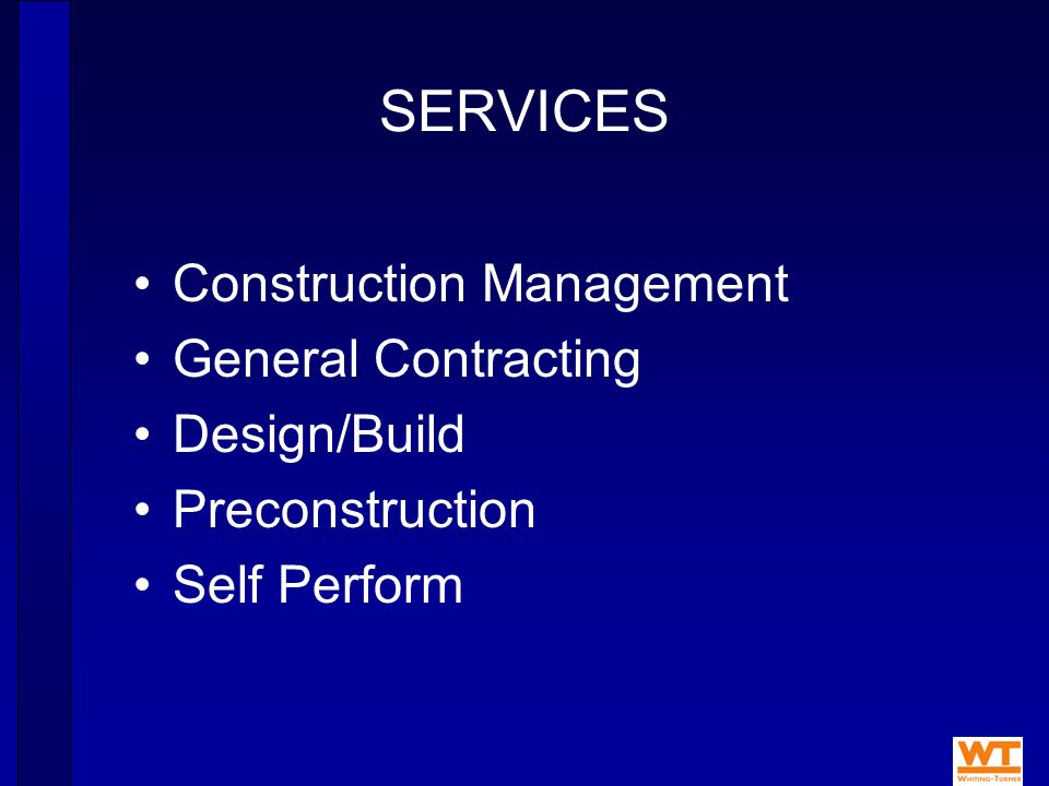ORGANIZATION Decentralized structure promotes enthusiasm and accountability with over 70 groups Best and brightest engineers recruited Personnel cross-trained in all construction systems & services Specialized corporate services Mechanical & ElectricalCost Engineering SchedulingSafety AccountingEquipment Yard Operations