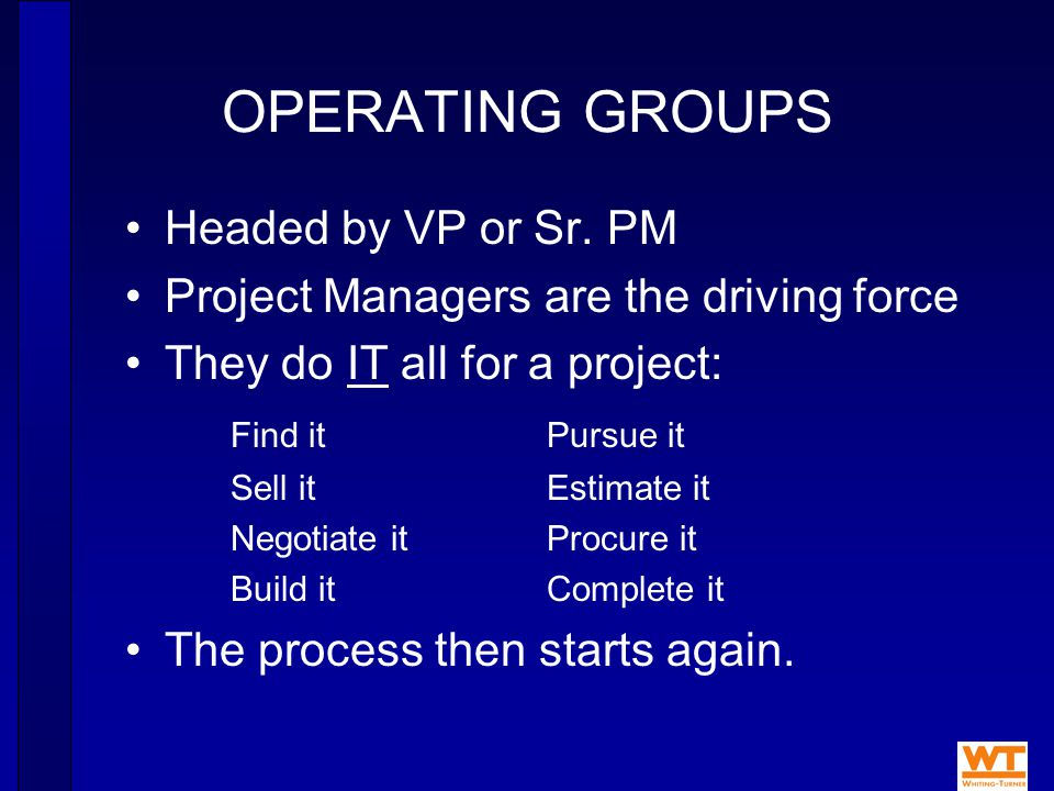 OPERATING GROUPS Headed by VP or Sr.