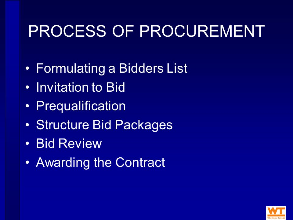 PROCESS OF PROCUREMENT Formulating a Bidders List Invitation to Bid Prequalification Structure Bid Packages Bid Review Awarding the Contract
