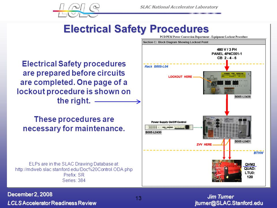 Jim Turner LCLS Accelerator Readiness Review jturner@SLAC.Stanford.edu December 2, 2008 13 Electrical Safety procedures are prepared before circuits are completed.