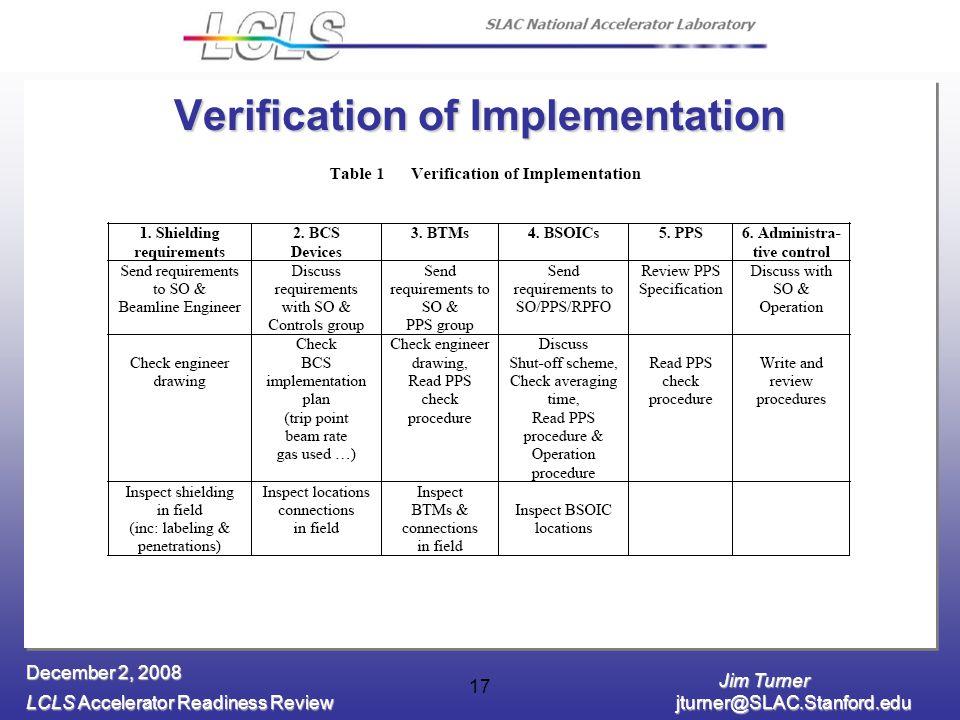 Jim Turner LCLS Accelerator Readiness Review jturner@SLAC.Stanford.edu December 2, 2008 17 Verification of Implementation