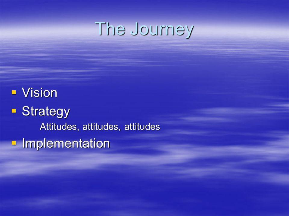 The Journey  Vision  Strategy Attitudes, attitudes, attitudes  Implementation