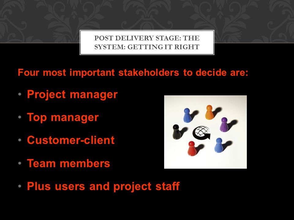 POST DELIVERY STAGE: THE SYSTEM: GETTING IT RIGHT Four most important stakeholders to decide are: Project manager Top manager Customer-client Team members Plus users and project staff