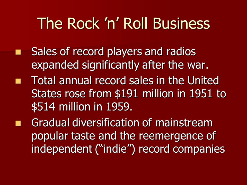 The Rock 'n' Roll Business Sales of record players and radios expanded significantly after the war.