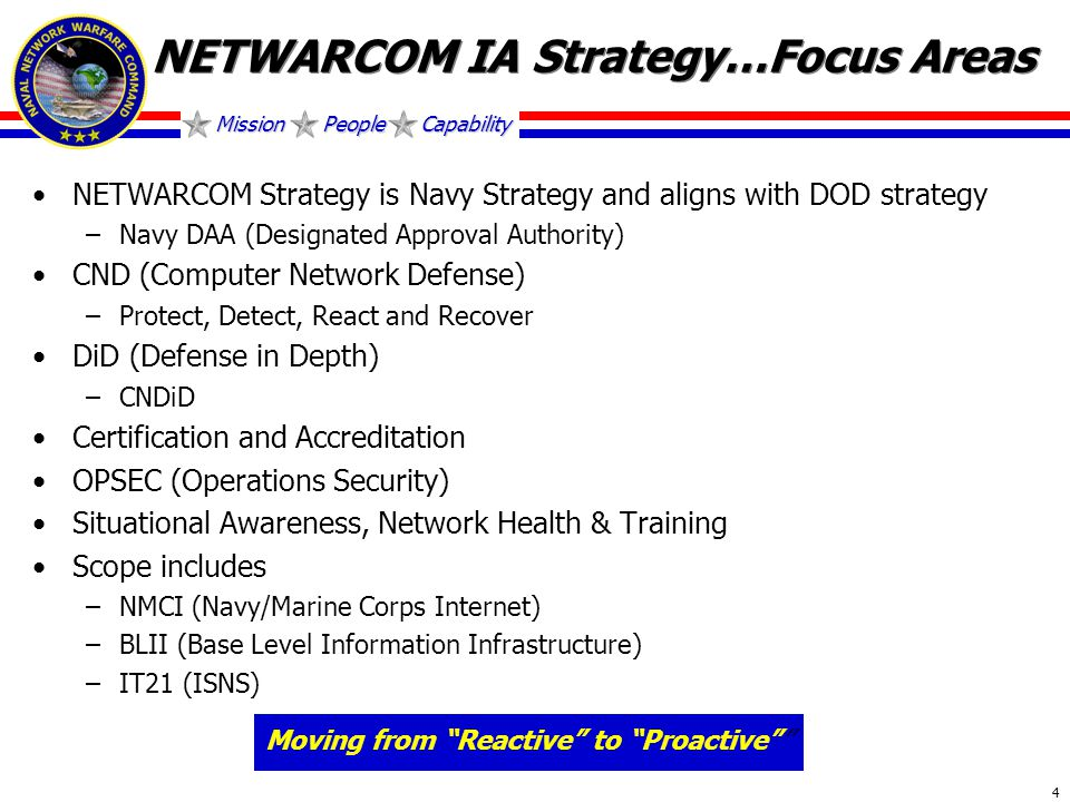 Mission People Capability 4 NETWARCOM IA Strategy…Focus Areas NETWARCOM Strategy is Navy Strategy and aligns with DOD strategy –Navy DAA (Designated Approval Authority) CND (Computer Network Defense) –Protect, Detect, React and Recover DiD (Defense in Depth) –CNDiD Certification and Accreditation OPSEC (Operations Security) Situational Awareness, Network Health & Training Scope includes –NMCI (Navy/Marine Corps Internet) –BLII (Base Level Information Infrastructure) –IT21 (ISNS) Moving from Reactive to Proactive
