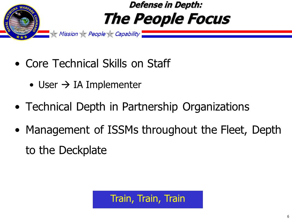 Mission People Capability 6 Defense in Depth: The People Focus Core Technical Skills on Staff User  IA Implementer Technical Depth in Partnership Organizations Management of ISSMs throughout the Fleet, Depth to the Deckplate Train, Train, Train