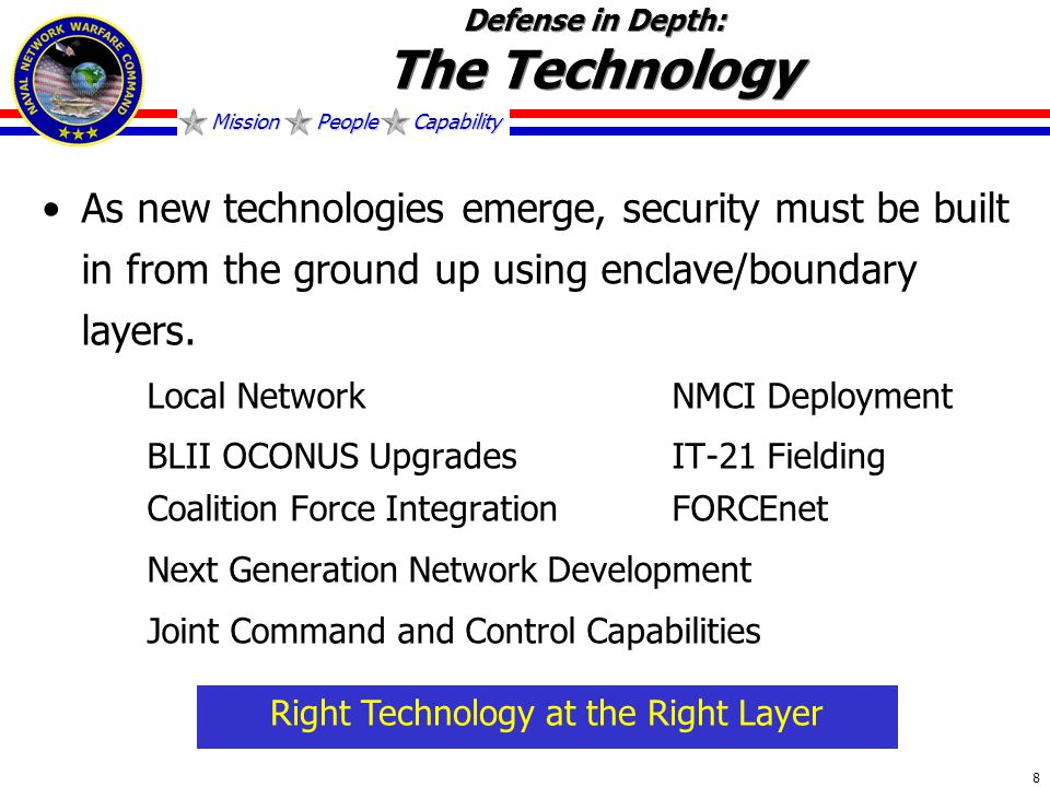 Mission People Capability 8 Defense in Depth: The Technology As new technologies emerge, security must be built in from the ground up using enclave/boundary layers.