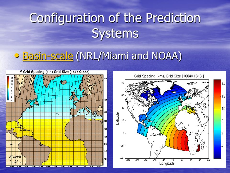 Configuration of the Prediction Systems Basin-scale (NRL/Miami and NOAA) Basin-scale (NRL/Miami and NOAA) Basin-scale