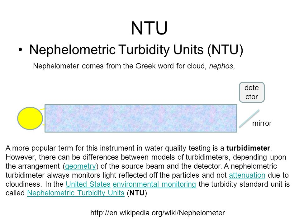 NTU Nephelometric Turbidity Units (NTU) http://en.wikipedia.org/wiki/Nephelometer dete ctor mirror A more popular term for this instrument in water quality testing is a turbidimeter.