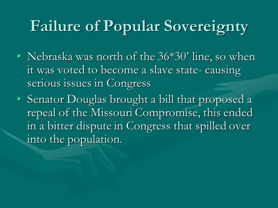 Failure of Popular Sovereignty Nebraska was north of the 36*30' line, so when it was voted to become a slave state- causing serious issues in Congress
