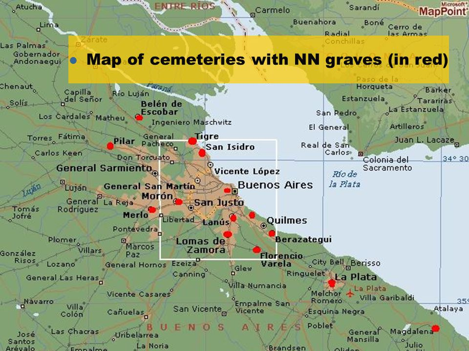 l Map of cemeteries with NN graves (in red)