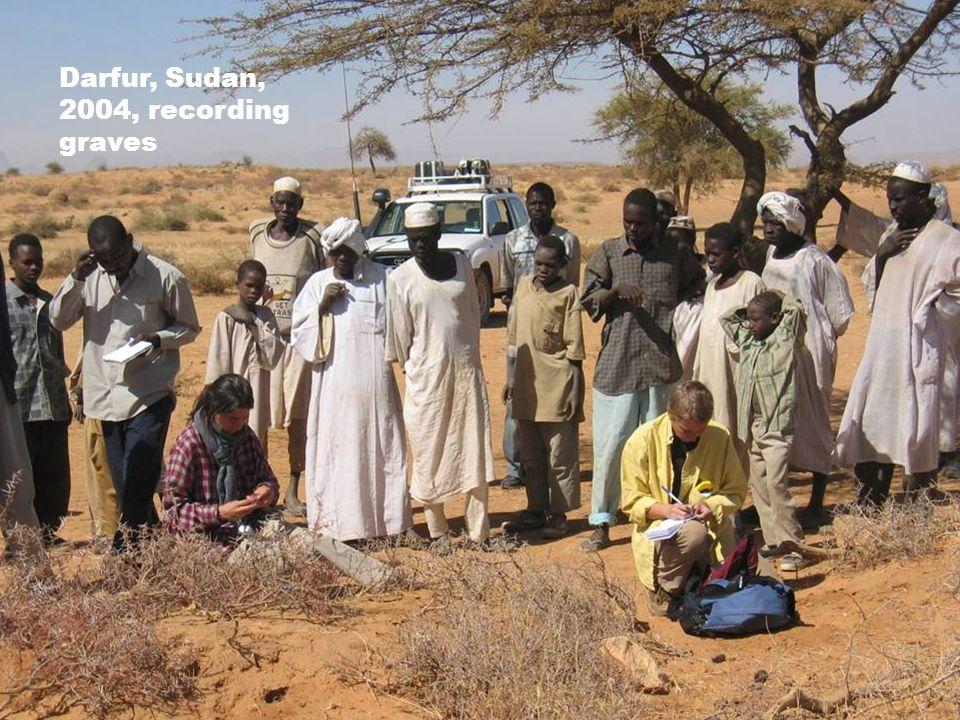 Darfur, Sudan, 2004, recording graves