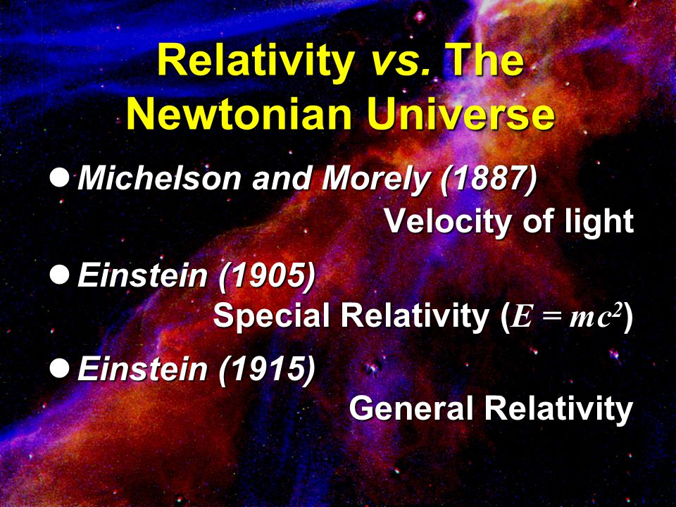 Relativity vs. The Newtonian Universe Michelson and Morely (1887) Michelson and Morely (1887) Velocity of light Einstein (1905) Einstein (1905) Specia