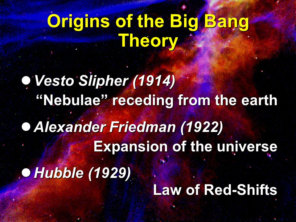 Implications of Big Bang Time, space, matter and energy all came into existence at once Time, space, matter and energy all came into existence at once Time is a created dimension Time is a created dimension