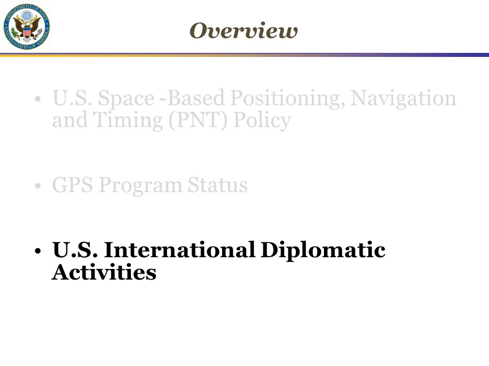 Overview U.S. Space -Based Positioning, Navigation and Timing (PNT) Policy GPS Program Status U.S.