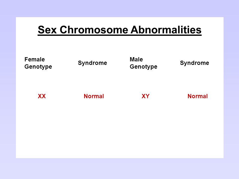 Sex Chromosome Abnormalities Female Genotype Syndrome Male Genotype Syndrome XXNormalXYNormal XOTurner XXYKlinefelter XXXTriple-XXYY