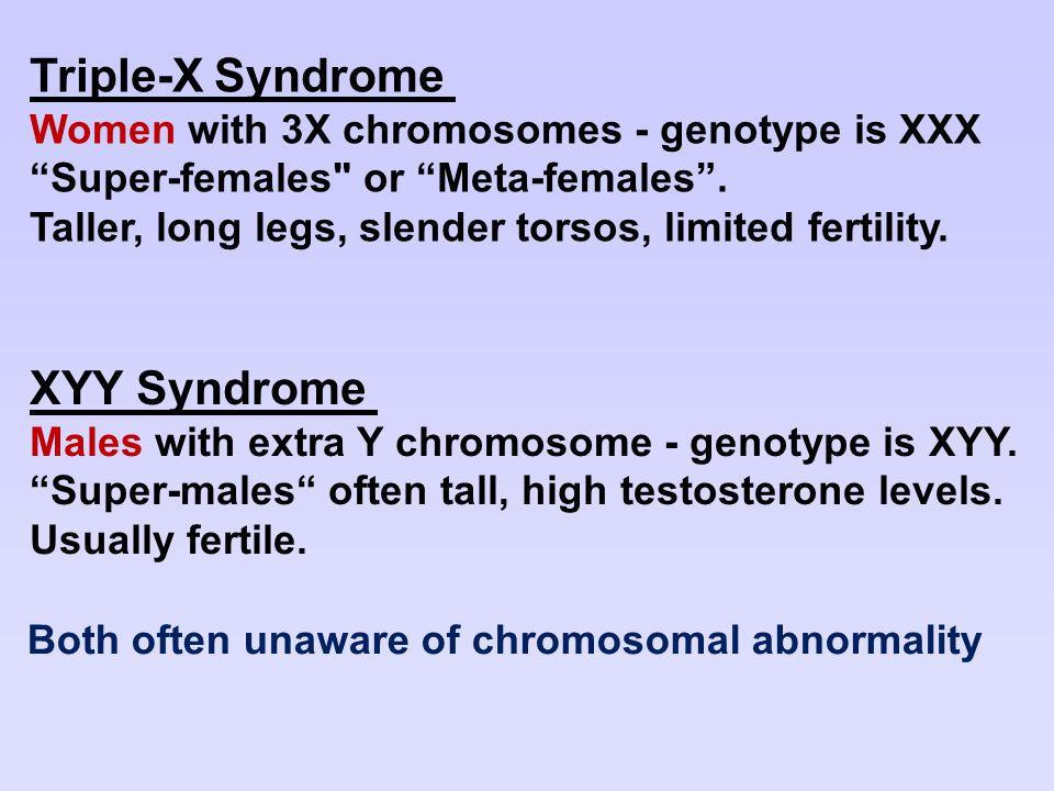 "Triple-X Syndrome Women with 3X chromosomes - genotype is XXX ""Super-females"