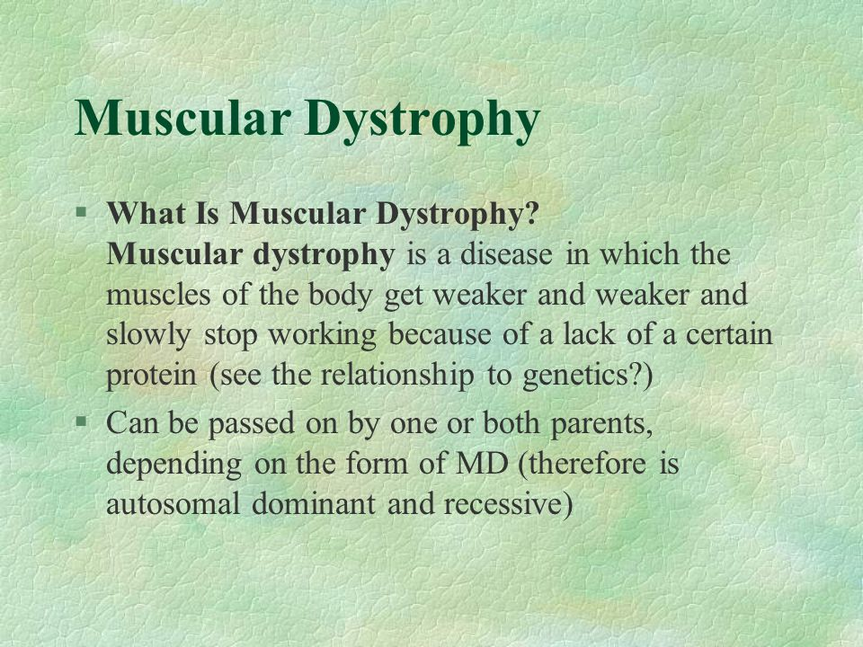 Muscular Dystrophy §What Is Muscular Dystrophy? Muscular dystrophy is a disease in which the muscles of the body get weaker and weaker and slowly stop