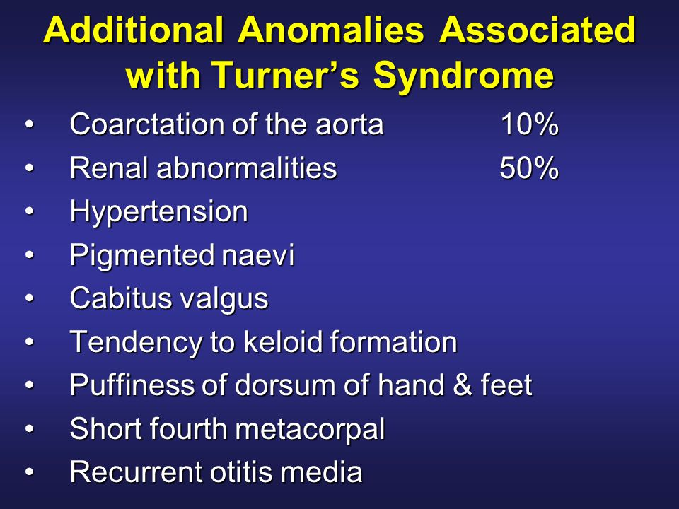 Additional Anomalies Associated with Turner's Syndrome Coarctation of the aorta10%Coarctation of the aorta10% Renal abnormalities50%Renal abnormalitie