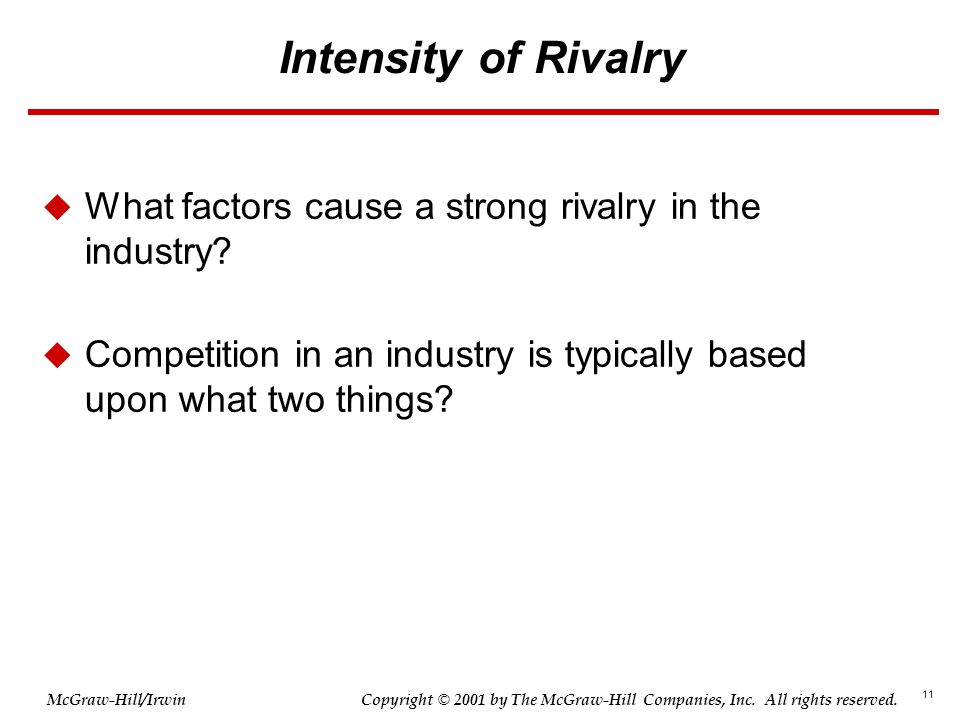 11 © 2001 by The McGraw-Hill Companies, Inc. All rights reserved. McGraw-Hill/Irwin Copyright Intensity of Rivalry  What factors cause a strong rival