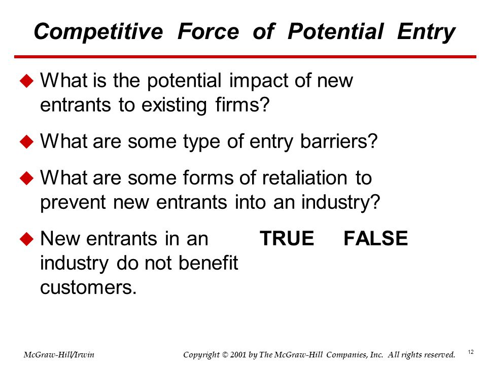 12 © 2001 by The McGraw-Hill Companies, Inc. All rights reserved. McGraw-Hill/Irwin Copyright Competitive Force of Potential Entry  What is the poten