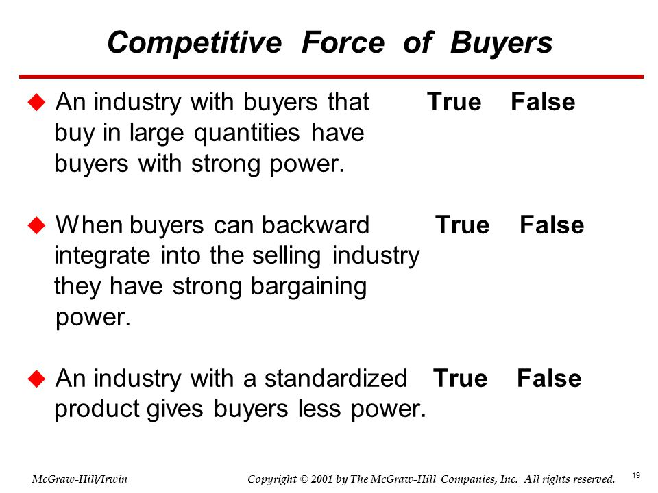 19 © 2001 by The McGraw-Hill Companies, Inc. All rights reserved. McGraw-Hill/Irwin Copyright Competitive Force of Buyers  An industry with buyers th