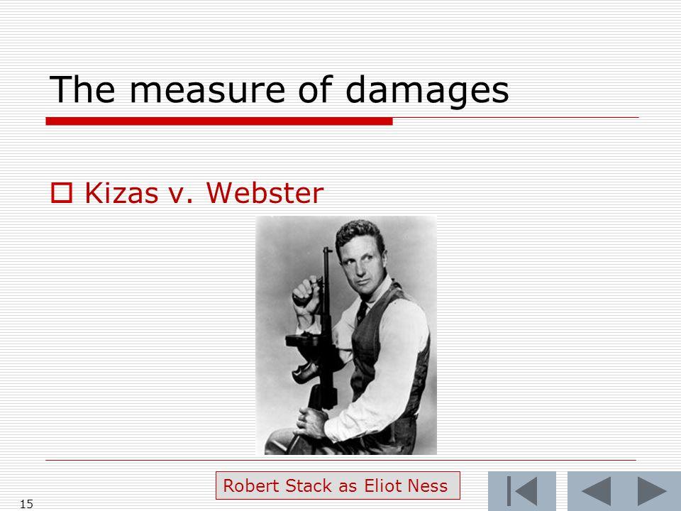 The measure of damages  Kizas v. Webster 15 Robert Stack as Eliot Ness