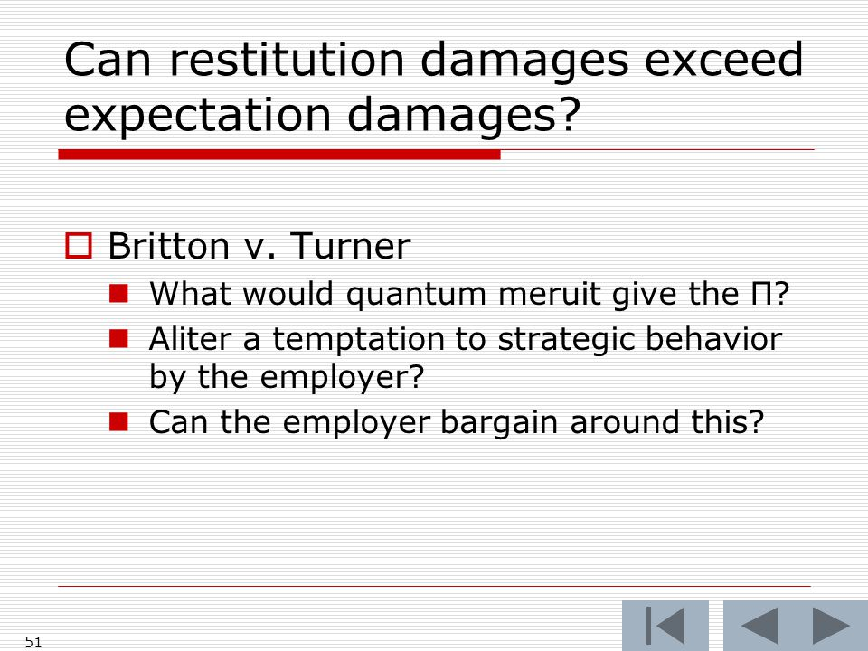 Can restitution damages exceed expectation damages.