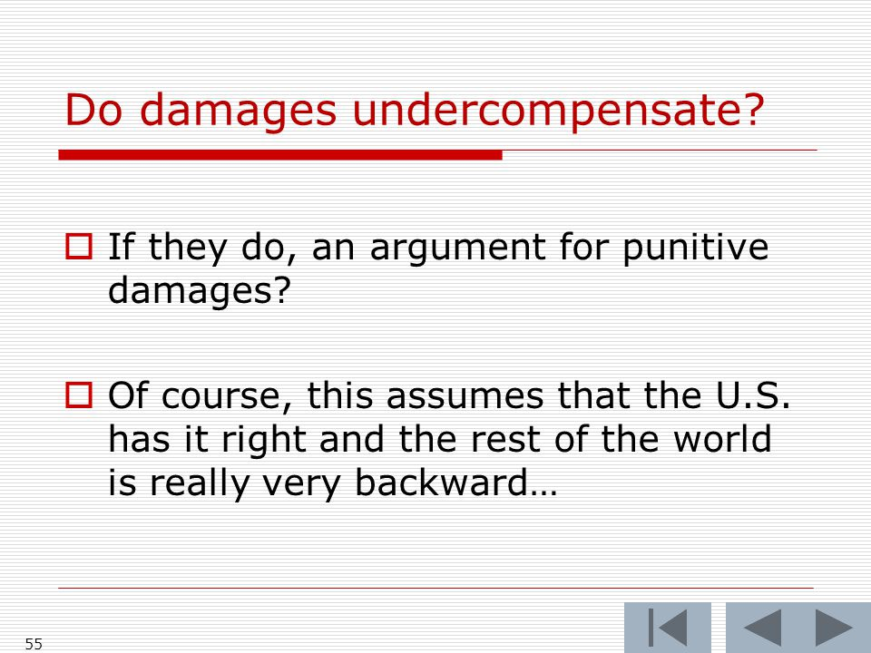 Do damages undercompensate.  If they do, an argument for punitive damages.