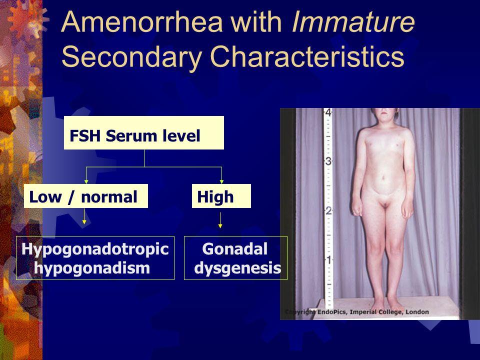 Amenorrhea with Immature Secondary Characteristics FSH Serum level Low / normalHigh Hypogonadotropic hypogonadism Gonadal dysgenesis