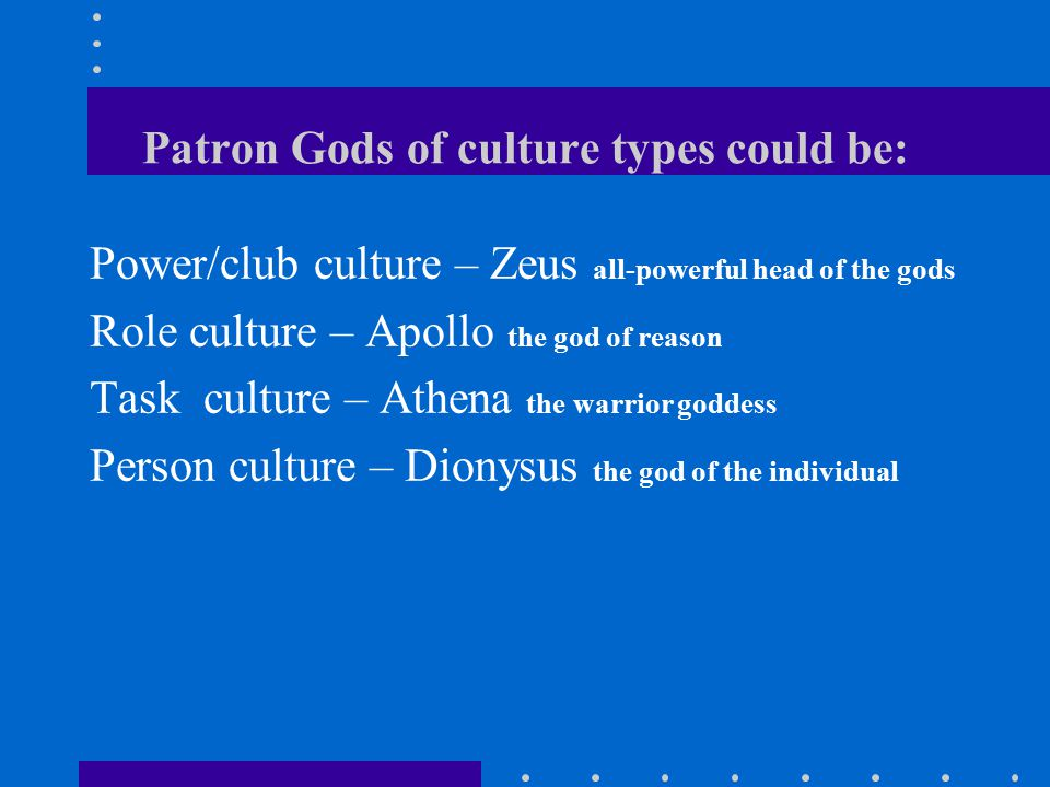 Patron Gods of culture types could be: Power/club culture – Zeus all-powerful head of the gods Role culture – Apollo the god of reason Task culture – Athena the warrior goddess Person culture – Dionysus the god of the individual