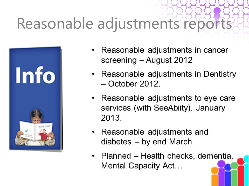 Reasonable adjustments reports Reasonable adjustments in cancer screening – August 2012 Reasonable adjustments in Dentistry – October 2012.