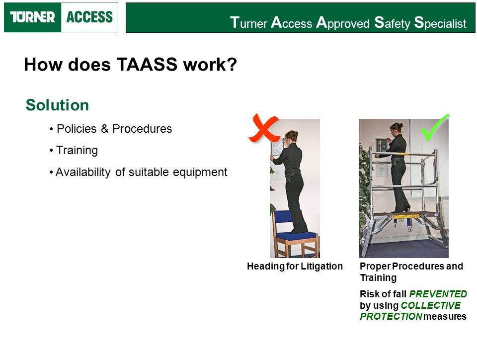 T urner A ccess A pproved S afety S pecialist TAASS Member has opportunity to promote a safety training package, which involves policies and procedures that protect; Employees from the risk of fall and; Employer from opportunistic litigation What does TAASS involve?