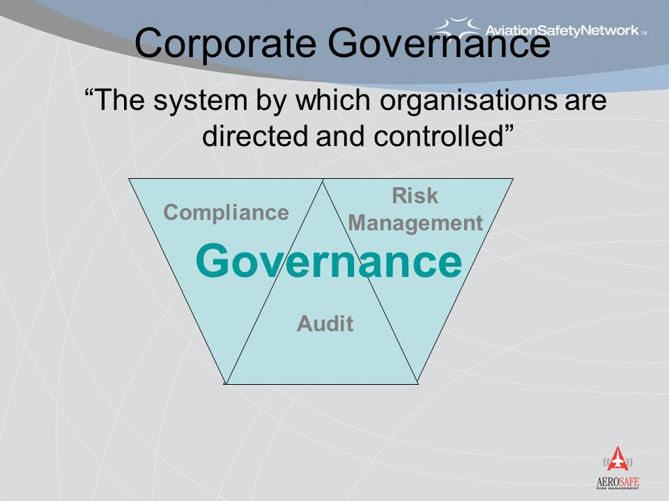 "Corporate Governance ""The system by which organisations are directed and controlled"" Risk Management Compliance Audit Governance"