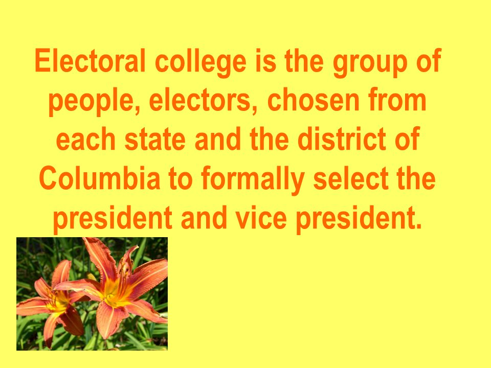 Electoral college is the group of people, electors, chosen from each state and the district of Columbia to formally select the president and vice president.